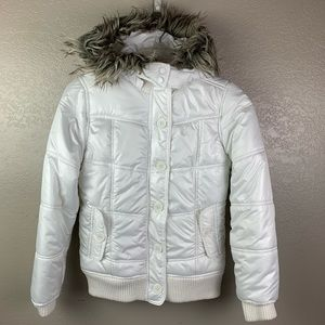 Girls Justice White Faux Fur Hooded Puffer Jacket
